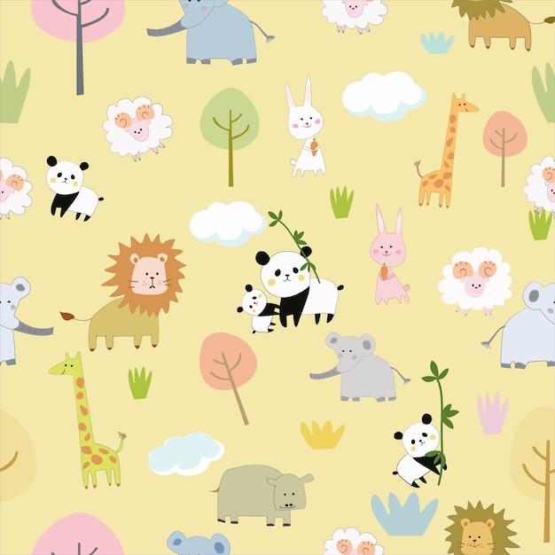 大きな動物園のシームレスなパターンでかわいい動物 Premiumベクター