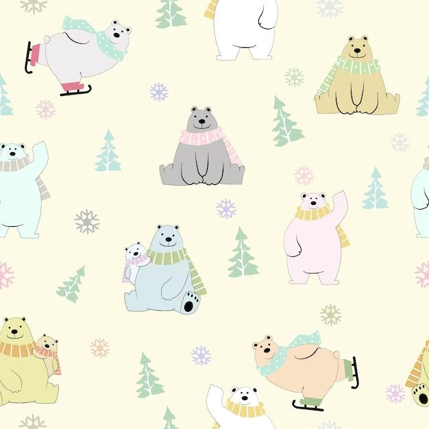 かわいいテディベア家族冬のシームレスなパターンで幸せ。 Premiumベクター