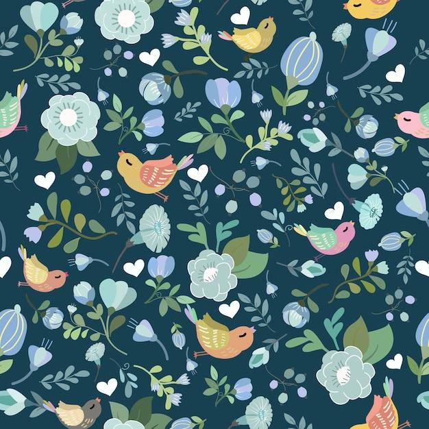 青花とカラフルな鳥のシームレスなパターン。 Premiumベクター