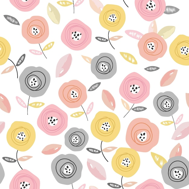 甘いカラフルなバラの花のシームレスパターン Premiumベクター