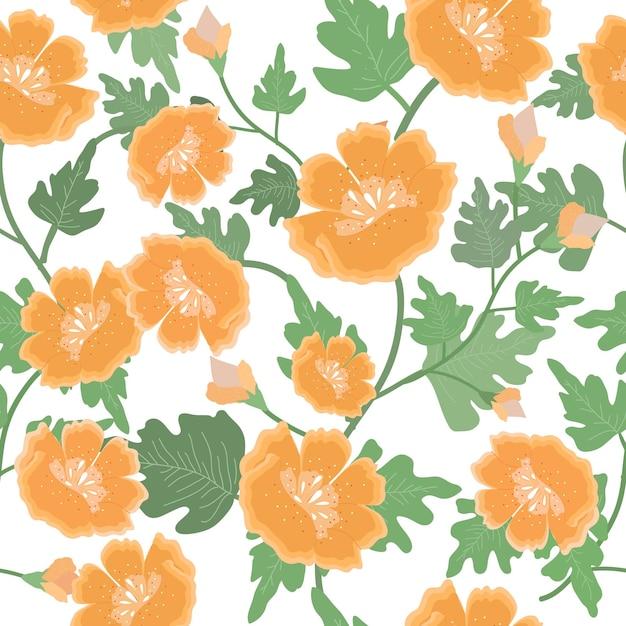 美しいオレンジ色の花と葉のシームレスパターン。 Premiumベクター