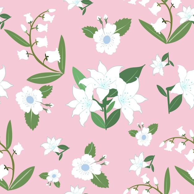 白い花と緑の葉のシームレスパターン。 Premiumベクター