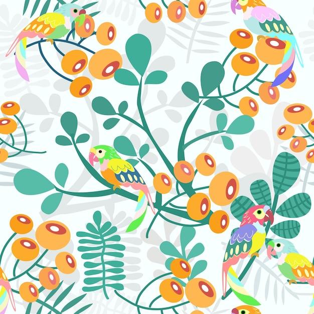緑の葉のシームレスパターンを持つオウムとオレンジ色の花。 Premiumベクター