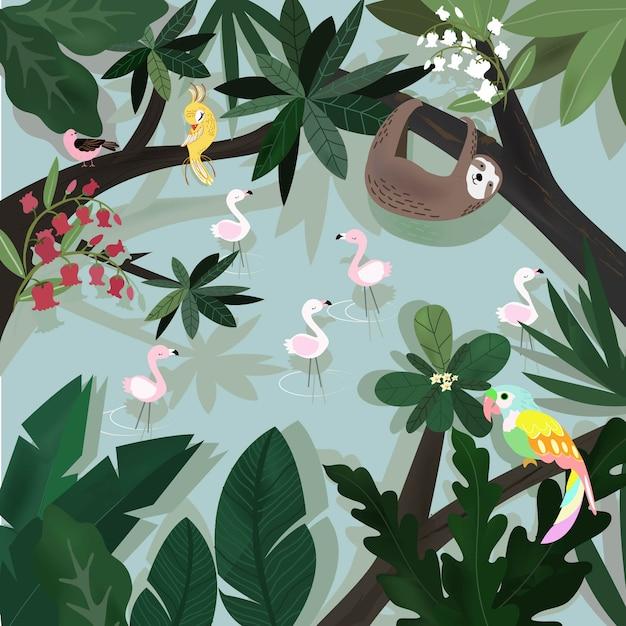 Симпатичные счастливое животное в тропических лесах мультфильм. Premium векторы