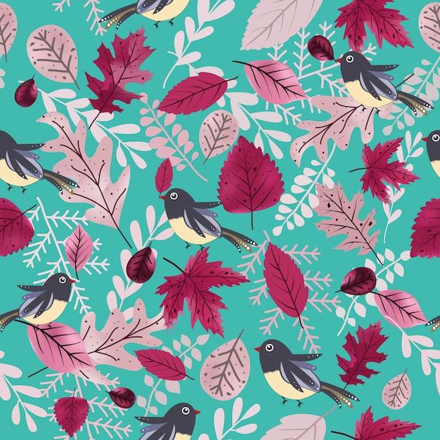 かわいい鳥と美しい紫色の葉のシームレスパターン。 Premiumベクター