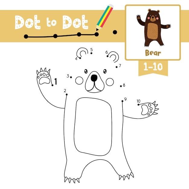 Игра медведь точка в точку и раскраска Premium векторы