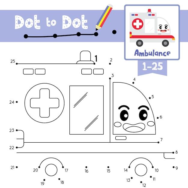 ゲームとぬりえのドットに救急車のドット Premiumベクター