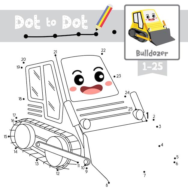 教育ゲームと塗り絵ブルドーザー漫画キャラクター遠近法ビューイラストをドットするドット Premiumベクター