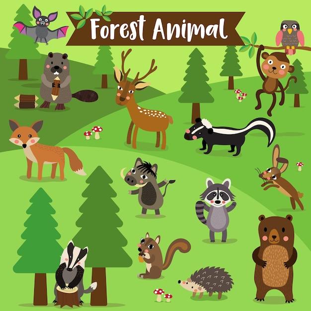 森林動物漫画 Premiumベクター