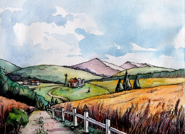 Красочный сельский пейзаж поле пшеницы в графическом стиле. Premium векторы