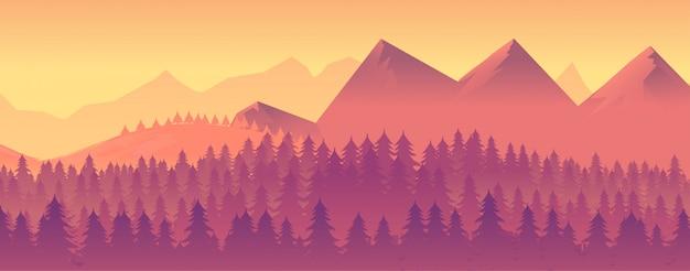 Природа пейзаж с горами и лесом Premium векторы