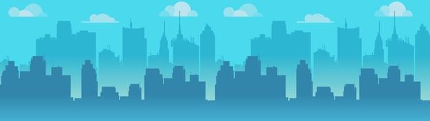 都市のスカイラインイラスト、青い都市のシルエット。 Premiumベクター