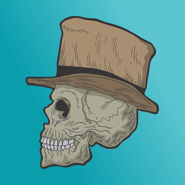 Череп в шляпе. рисованной стиль вектор каракули дизайн иллюстрации. Premium векторы