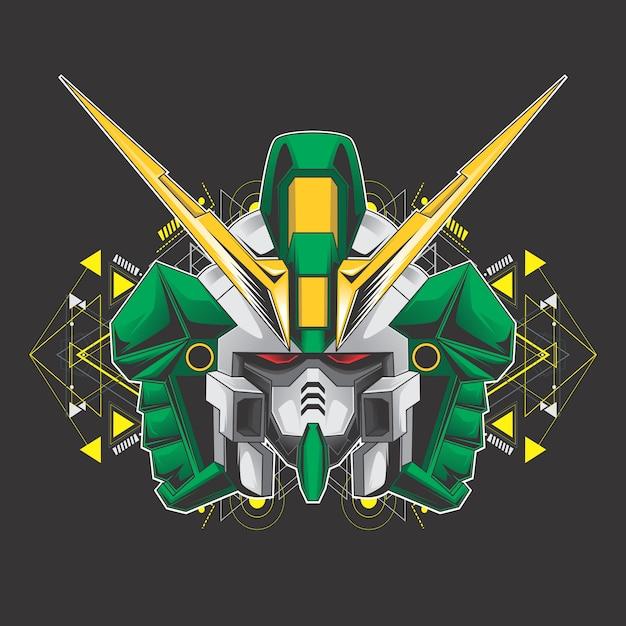 グリーンキラーロボットヘッド Premiumベクター