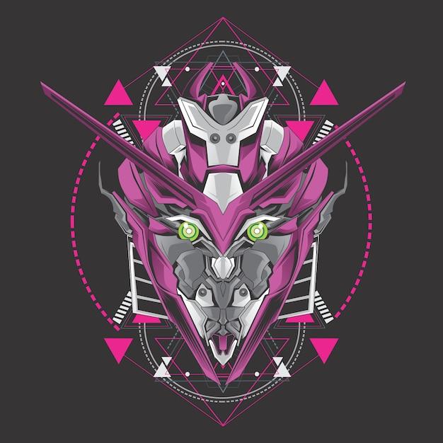 紫色のロボットヘッド Premiumベクター