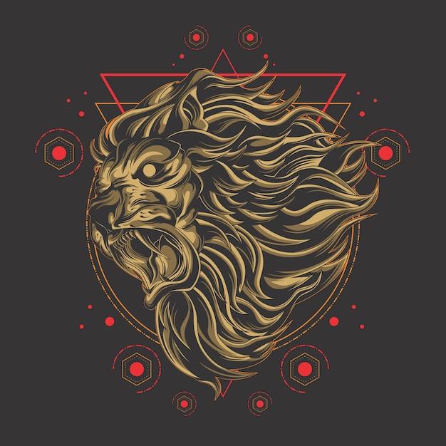 強力なライオンの神聖な幾何学 Premiumベクター