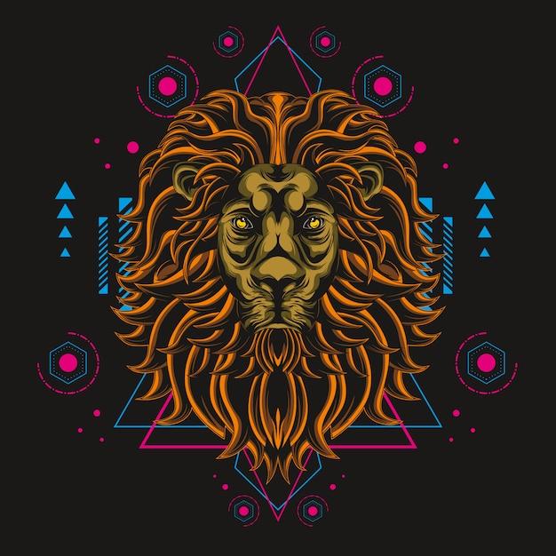 大ライオンの神聖な幾何学 Premiumベクター