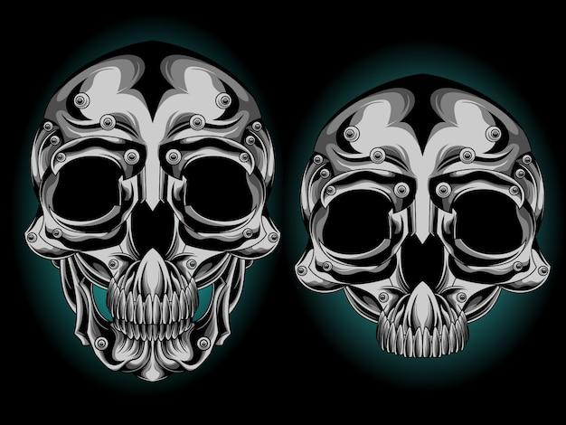 Серебряная голова черепа Premium векторы