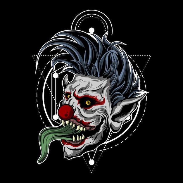 Зомби-клоун со сакральной геометрией Premium векторы