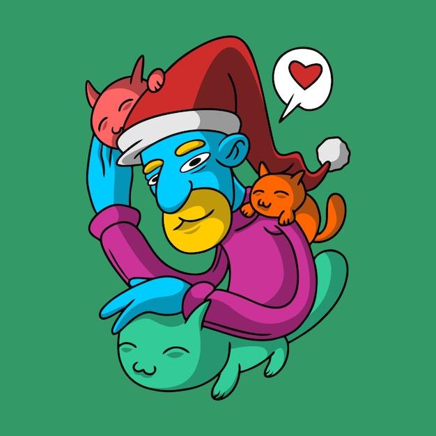 Кошки на рождество рисованной стиль Premium векторы