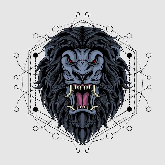 神聖な幾何学を持つ壮大な暗いライオン Premiumベクター