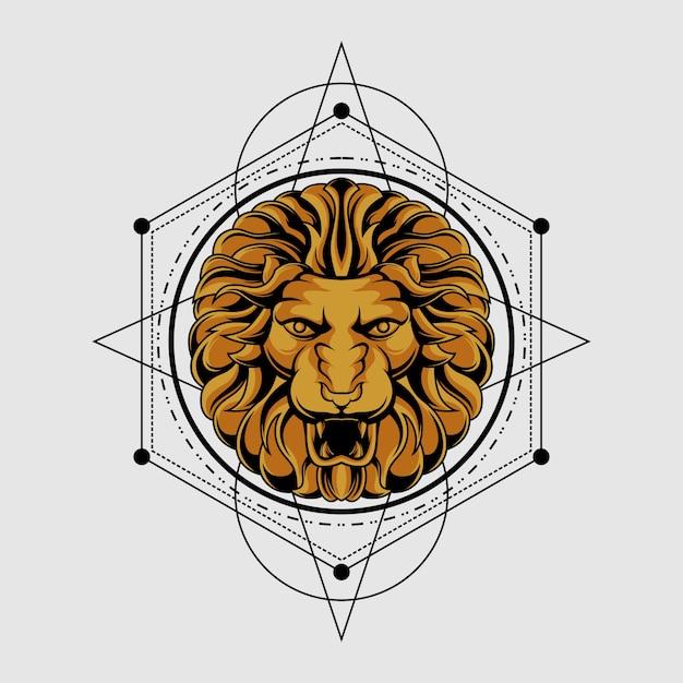 古典的な神聖な幾何学のライオン Premiumベクター
