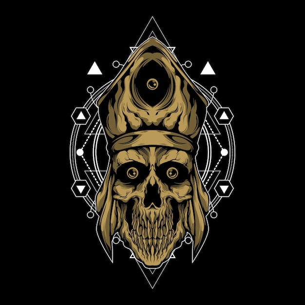 Священник смерти со сакральной геометрией Premium векторы