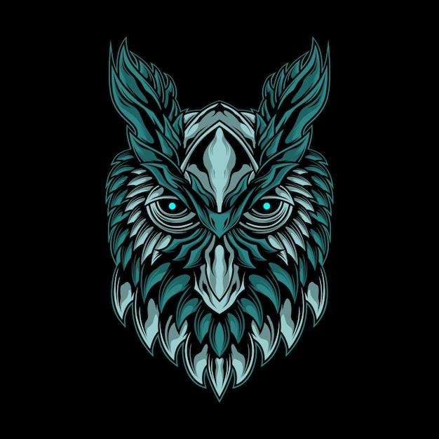 Иллюстрация мистической головы совы Premium векторы