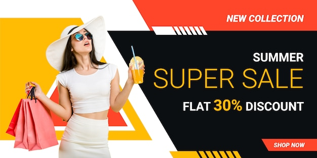 モダンなセールのバナー広告やウェブサイトのスライダーテンプレートデザイン Premiumベクター