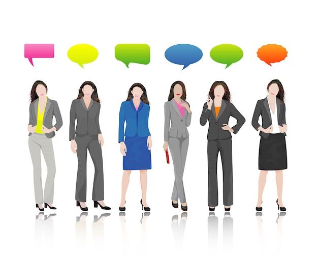 吹き出しとビジネス女性キャラクターセット Premiumベクター