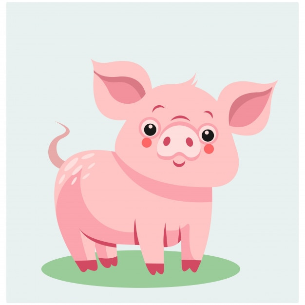 Милый животное фауна сафари розовый свиньи талисман мультфильм характер Premium векторы