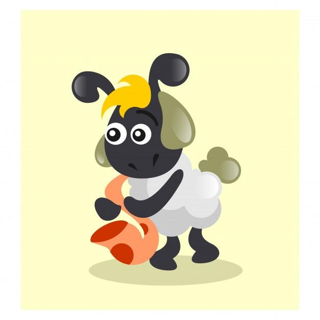 かわいいミュージシャンの動物サックス奏者の羊のマスコット漫画の