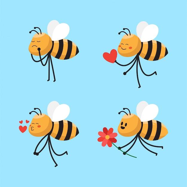 かわいい蜂漫画キャライラスト Premiumベクター