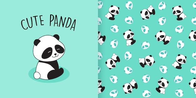 Симпатичная панда бесшовные модели Premium векторы