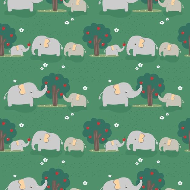 Безшовная семья слона картины в лесе. Premium векторы