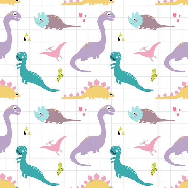 Бесшовные модели динозавров Premium векторы
