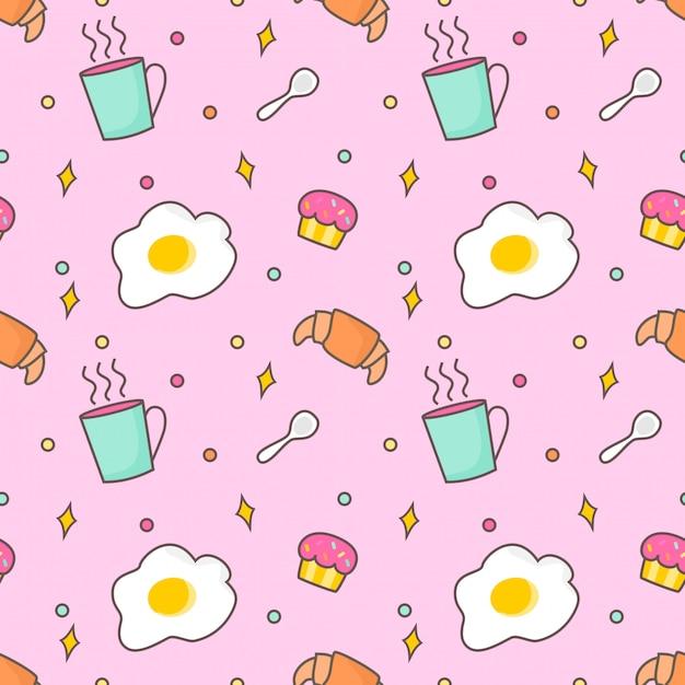 Бесшовные шаблон завтрак Premium векторы