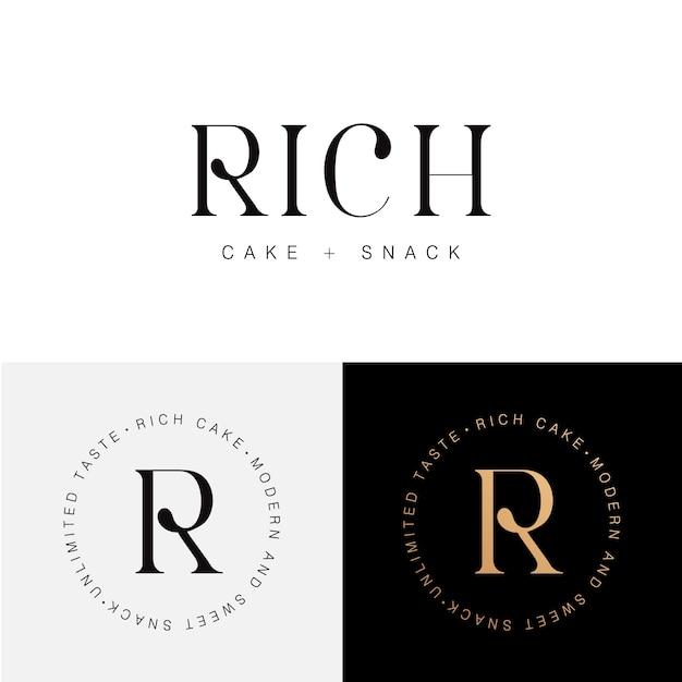 リッチケーキ、スナック、ベーカリーロゴテンプレート Premiumベクター