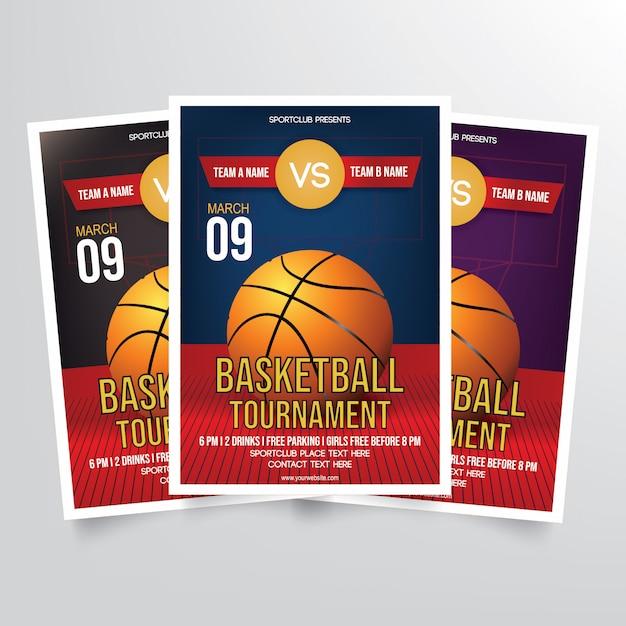 バスケットボールのトーナメントチラシテンプレート Premiumベクター