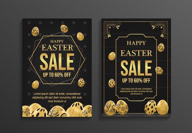 ハッピーイースターの日セールチラシテンプレート Premiumベクター