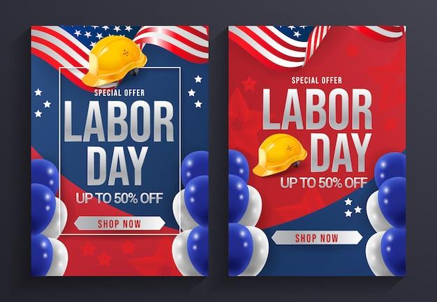 労働日販売チラシテンプレートベクトル Premiumベクター