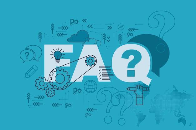 Часто задаваемые вопросы по концепции баннера сайта с тонкой линейной плоской конструкцией Premium векторы