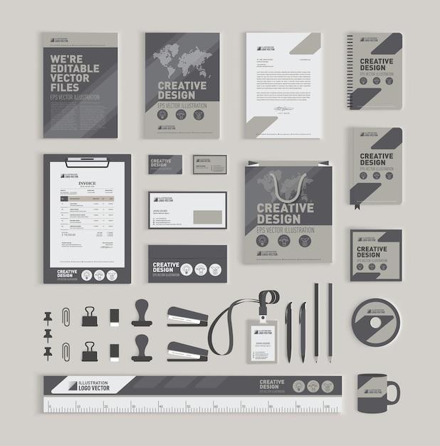 幾何学的なコーポレートアイデンティティデザインテンプレート Premiumベクター