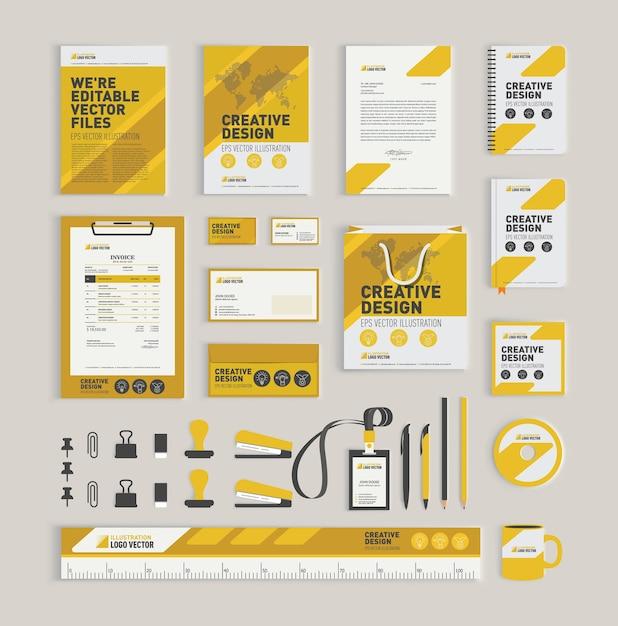 黄色の幾何学的なコーポレートアイデンティティデザインテンプレート Premiumベクター