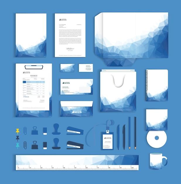 コーポレートアイデンティティ三角デザインテンプレート Premiumベクター