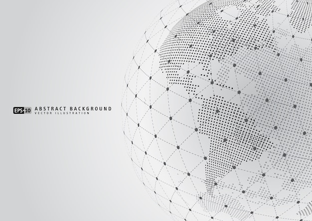 ワイヤーフレームを持つ抽象的な地球の地球 Premiumベクター