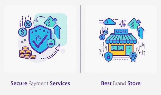 ビジネスと金融のアイコン、安全な支払いサービス、最高のブランドストア Premiumベクター