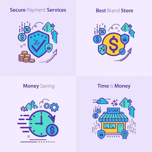 銀行と金融のアイコンセットコンセプト Premiumベクター