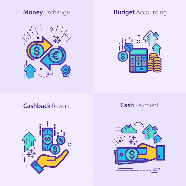 ビジネスと金融のアイコンセットのコンセプト Premiumベクター