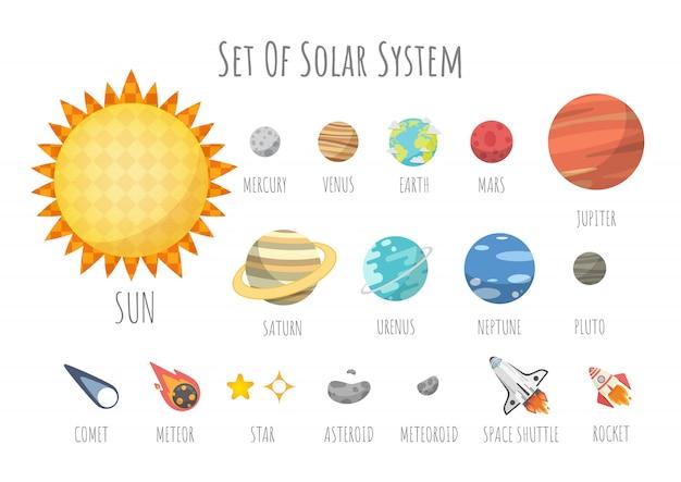 宇宙、太陽系の惑星、宇宙の宇宙要素のセット。漫画のスタイルのベクトル図。 Premiumベクター